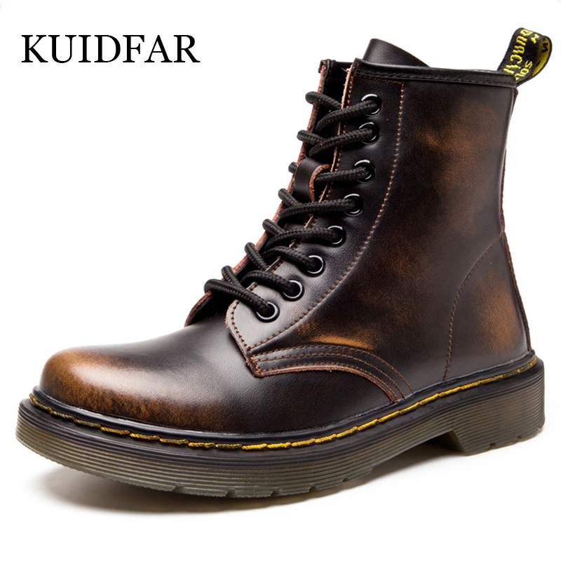 KUIDFAR Women Boots Ankle Boots for Women Shoes  2017 Spring Early Autumn Genuine Leather Shoes Women Lace Up Land  Boots<br>