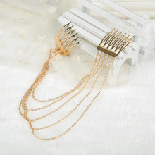 Fashion Design elegant women girls Head Band Tassel alloy Chain brush Luxury Long chain hair comb free shipping SS0042*6