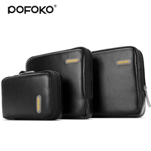 POFOKO PU 3 in 1 2.5 inch external hard drive bag power banks usb drive earphone digital accessories bag sports camera bag