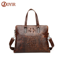 JOYIR New Men's Briefcase Genuine Leather Luxury Designer Notebook Business Male Bag Crocodile Pattern Bag vintage Laptop &52(China)
