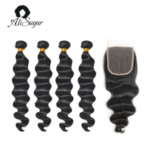 Ali Sugar Hair Cambodian Virgin Hair Loose Wave Bundles With Closure 100% Human Hair Weave Salon High Ratio Hair Extensions(China)