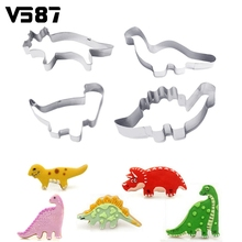 Cake Mold Dinosaur 4Pcs/Set Decorating Kitchen Cookie Cutter Animal Stainless Steel Fondant Chocolate Candy Pastry Baking Tools(China)