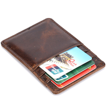 Men Oil Wax Cowhide Slim Mini Card Holer Wallets Pocket Genuine Leather Male Vintage Thin Money Coin Purse ID/Credit Card Clips(China)