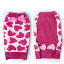 Winter Dog Clothes Rose Red Bow Love Pet Cat Dog Sweater Christmas Pet Coats