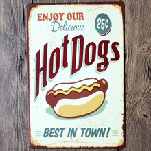 ENJOY OUR Delicious Hot Dogs BEST IN TOWN Wall Decalsmetal Tin Signs Plate Painting Home Decoration Wall Decor Wall Stickers(China)