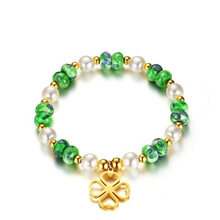 Top Quality Bracelets & Bangles Green White Balls High Polished Stainless Steel 4 Hearts Charm Friendship Bracelet Cute Girl Jew(China)
