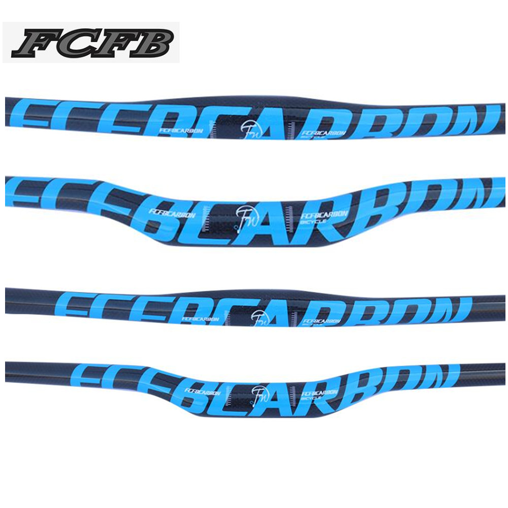 FCFB blue mountain handlebar flat carbon handlebar rise bar size 31.8*600-760mm bike parts carbon parts cycling accessories