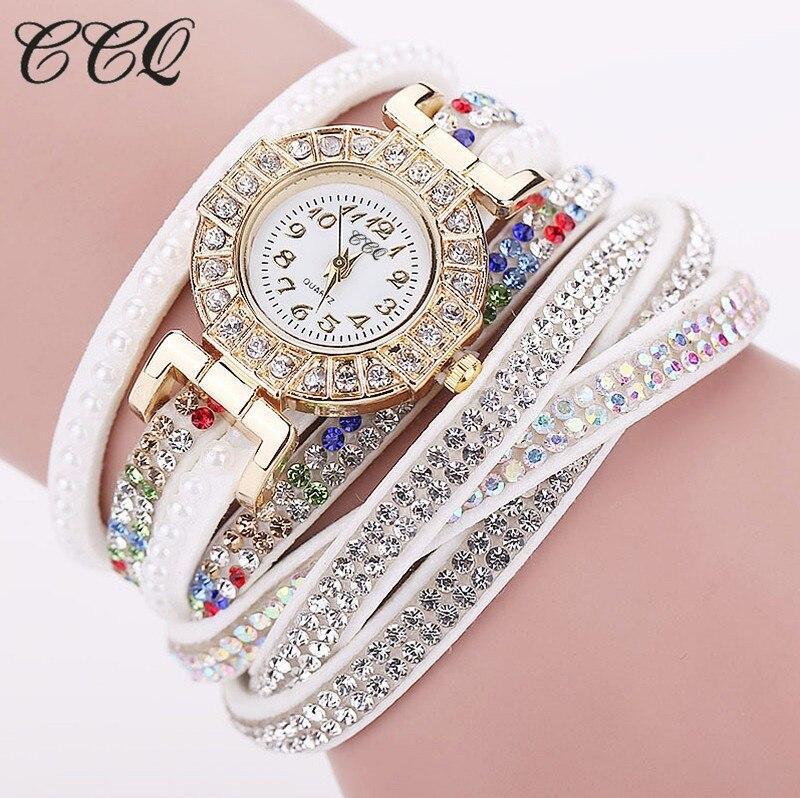 CCQ Fashion Leather Bracelet Watch Luxury Women Rhinestone Wrist Watch Casual Quartz Watches Relogio Feminino Gift 1794<br><br>Aliexpress