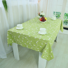 Tablecloths Leaves Pattern Linen Cover Toalha De Mesa Sequin Tablecloth Green Blue Table Cover Cloth Cotton Modern Organza(China)