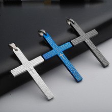 Hot Fashion Women Men Cross Pendant Silver Black Blue Stainless Steel Multi Sizes Cross Bible Sanskrit Pendant Necklace Jewelry(China)