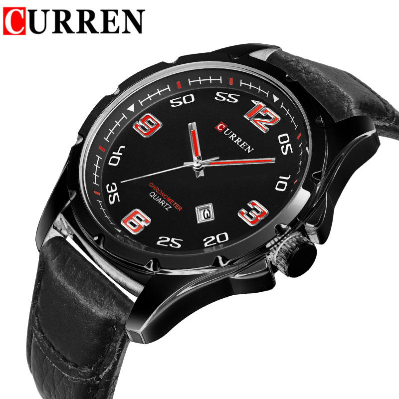 Curren Mens Casual Watch Top Brand Man Wristwatch Fashion Leather Strap Mens Dress Watches Male Clocks Outdoor Day Date Relojes<br><br>Aliexpress