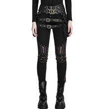 Steampunk Women's PU Leather Stitching Pants Mortorcycle Rivets Tight Skinny Trousers Rock Victoruan Slim-fitting Pencil Pants(China)