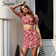 Buy Simplee Vintage embroidery two-piece short dress women shoulder high waist sexy dress 2018 Boho summer beach dress vestido for $23.99 in AliExpress store