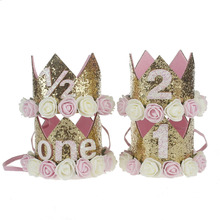 1pc/lot Glitter Pretty Flowers Crown with number Headband Slim Hairband For Girls Birthday Party DIY Hair Accessories