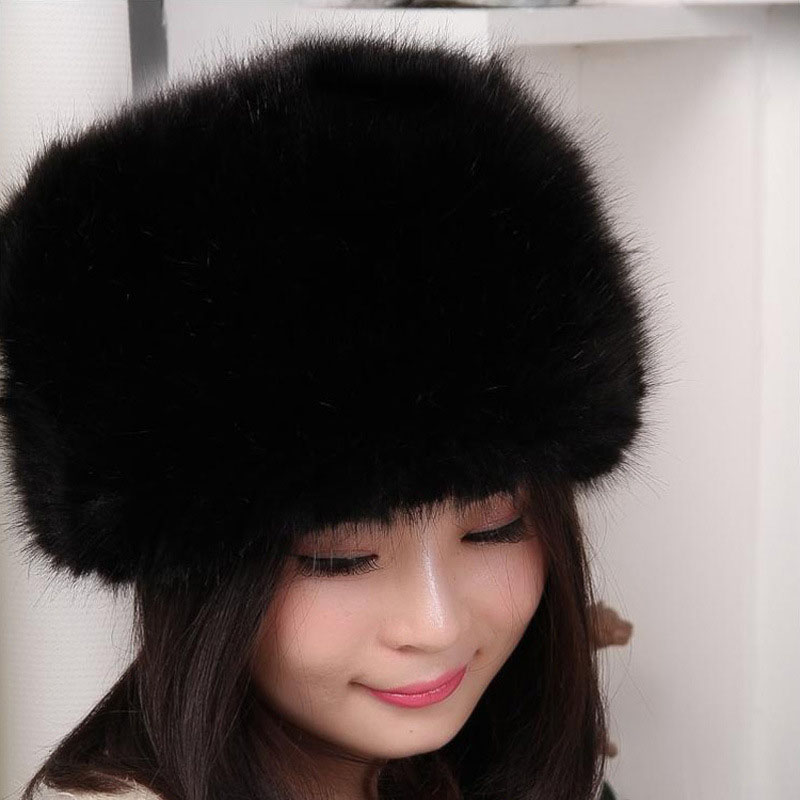Hot Selling Cap of Mink Fur Coat With Fox Fur Women Thicken Comfortable Warm Female Cap Winter Knitted Imitate Mink Fur Hat 5T46Одежда и ак�е��уары<br><br><br>Aliexpress