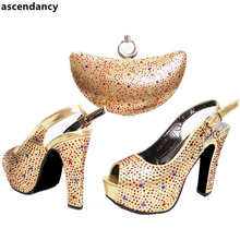 Sales In Women Matching Shoes and Bag Set Gold Color Italian Ladies Shoe and Bag Set Decorated with Rhinestone Latest Shoes Bag