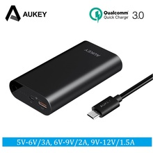 AUKEY Quick Charge 3.0 Power Bank 10050mAh Portable Fast Charger External Power Batteries for Xiaomi redmi 4x Samsung Galaxy s8(China)