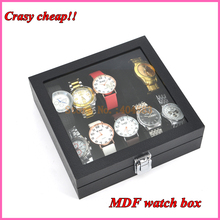 10 slots black cheap watch storage box with metal circles(China)