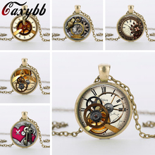 2015 high quality retro vintage  steampunk  personality clock glass pendant necklace jewelry CN787-792