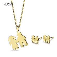 HUCHE Fashion Statement Necklace Earrings Stainless Steel Children Jewelry Sets for Girls Chain Pendant Kids Jewellery Set ZBT56
