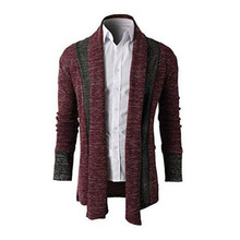 KaLeBo Fashion cardigan new men 's wool long - sleeved sweater stitching long section sweater sweaters coat(China)