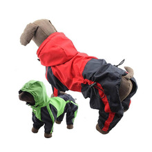 2016 Dog Raincoats Fashion Spliced Small Dog Clothes Pet Heavy Duty Raincoat Dog Four Legs Hooded Raincoat Red/Green(small dog)