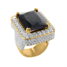 free shipping bing bling jewelry rick ross style CZ big black stone micro pave ring for men
