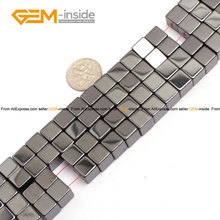 Gem-inside Magnetic Magnetite Hematite Healing Stone Beads Cubic Beads For Jewelry Making Bracelet Necklace 3-8mm 15inches DIY(China)