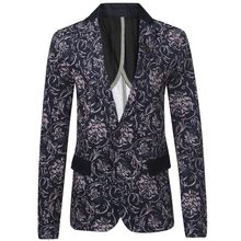 Men Printed Blazers 2016 Fashion Brand Floral Pattern Slim Fit Long Sleeve Blazer Spring Autumn Casual Floral Blazers Z2009(China)