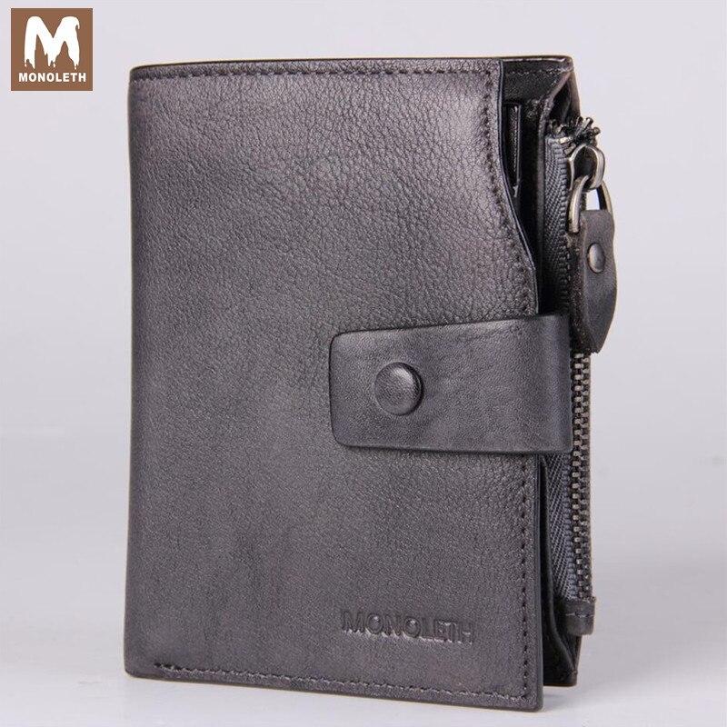 MONOLETH high quality Genuine Leather wallet men Vintage Wallets Clutch Coin Purse card holder 12 card slots zipper pocket W2005<br><br>Aliexpress