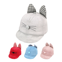 Cat Baby Baseball Cap Thick Autumn Baby Hat Cotton Solid Sun Cap With Ears Cartoon Toddler Boys Girls Hat Baby Boys Clothing(China)