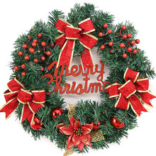 Christmas Decorate Accessories For Home Store Bowknot Flower Marry Christmas Store Wall Hangings Garlands(China)