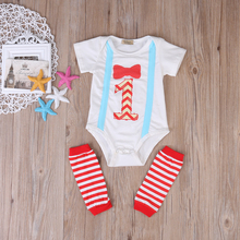 First Birthday Baby Boys Girl Cotton Romper Leg Warmer Bodysuit 2pcs Outfits Set