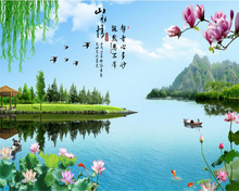 beibehang 3d ancient TangYun lotus Jiangnan Water Village Yi Jiangnan Chinese classical large frescoes papel de parede wallpape