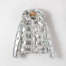 2017 Silver Bright Jacket Coat Women Winter Warm Down Cotton Padded Short Parkas Bread Style new Fashion Bomber Hooded Outwear(China)