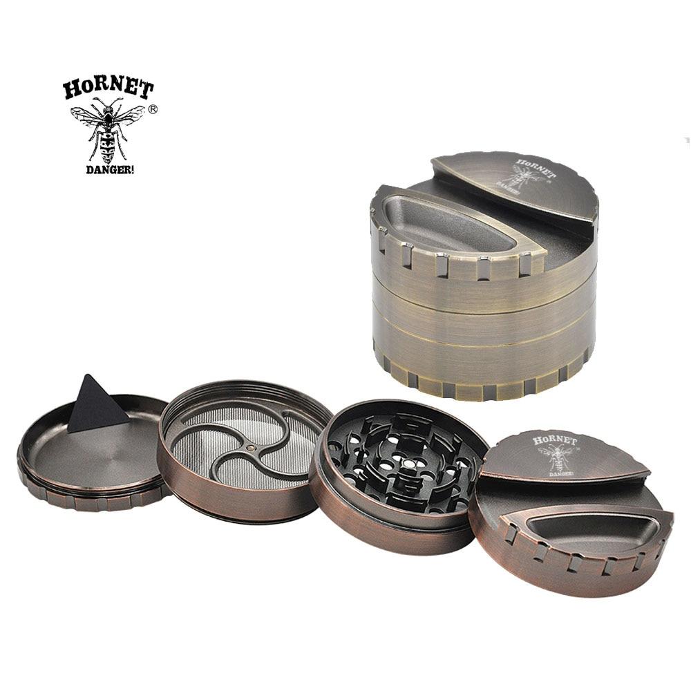 HORNET Hard Plastic 4 Parts Herb Grinder Crusher with Tobacco Storage Case-Black