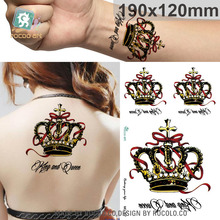 19X12cm Large Tattoo Sticker Halloween Gold Golden Crown Designs Temporary Tattoo Terrorist Stickers Flash Taty(China)