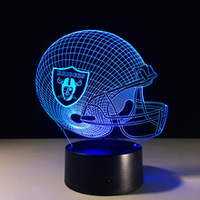 Novelty NFL Oakland Raiders Football Helmet Illusion LED Night Light Colorful Change Hologram 3D Desk Lamp for Home Decor(China)