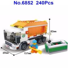 6852 240pcs City Garbage Truck Dumpcart Dust Cart Building Block Brick Toy(China)