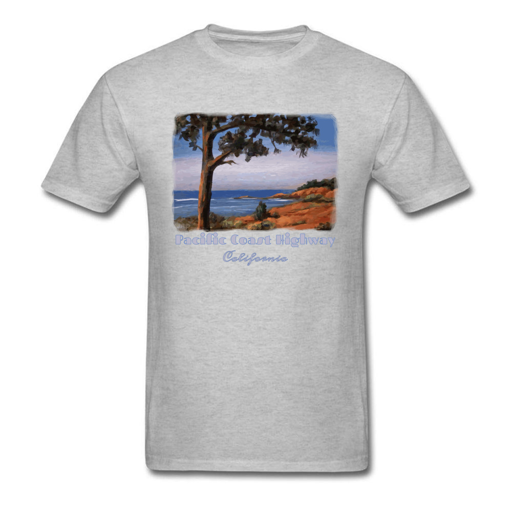 Simple Style Crewneck T Shirts Summer/Fall Tops Tees Short Sleeve Newest Cotton Fabric Printed Tshirts Casual Men Pacific Highway California Highway One Coastal Calif grey