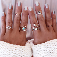 R030 6ps/Set Vintage Turkish Beach Punk Triangle Arrow Ring Set Ethnic Carved Boho Midi Finger Ring Knuckle Charm anelli Anillos