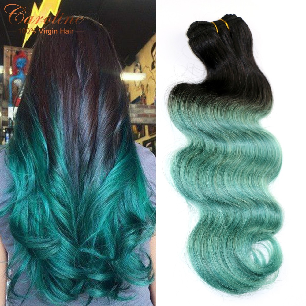 Queen Hair Products 4 Bundles Ombre Brazilian Virgin Hair Body Wave 8A Ombre Human Hair 1B/Green# 2 Tone Ombre Hair Extensions<br><br>Aliexpress