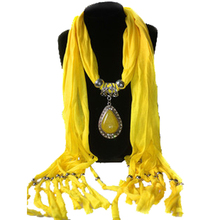 SYB 2016 NEW Stylish Alloy Resin Pendant Embellished Solid Color Scarf For Women yellow(China)