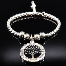 2017 Black Enamel Bracelets Women Silver Color Tree of Life Stainless Steel Bracelets Bangles Jewelry bracelet femme B61430
