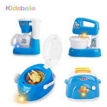 Toys For Children Pretend Play Blue Mini Kitchen Set Cooking Toys Electronic Simulation Microwave Ovens Coffee Machine Kids Toys(China)