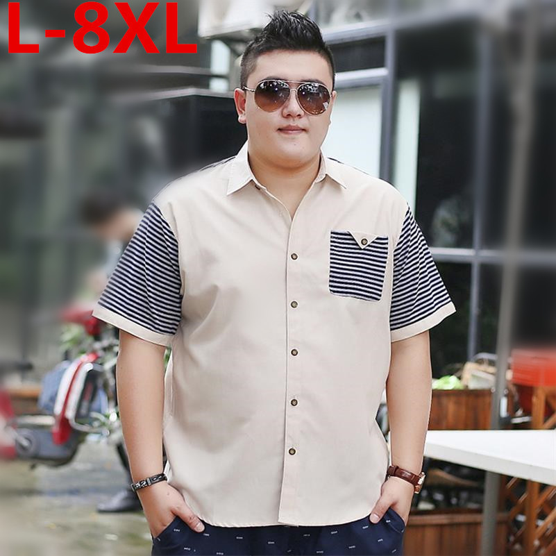 plus size 8XL 7XL 6XL New Cotton summer Loose Fit Casual Shirts short Sleeve striped Shirt Social Men Dress Shirts chemise homme