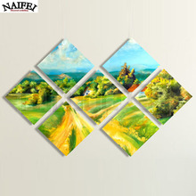 "7 pcs/set,Full square Diamond Painting Cross Stitch""Country Road""5D Diamond Embroidery Mosaic Multi-picture stickers decor(China)"