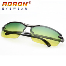 Aoron Brand Designer Men Driving Day Night Vision Goggles Fashion Polarized Sunglasses Sun Glasses Eyewear oculos 9903(China)