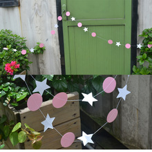 White Star + Pink Circle  Garland Ornaments Curtain Wall Pop Disc Holiday Party Wedding Room Classroom Decor Easter decoration