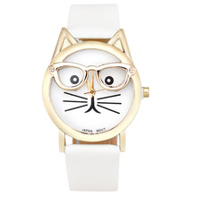 Wrist Watches For Women No Numerals Dial Cute Glasses Cat Analog Metal Quartz Watch Watches For Women Reloj Pulsera Mujer@CFPH